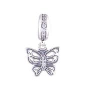 FJCharm Butterfly Love Takes Flight Dangle Charm Fits Pandora Breacelet Charms