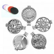 5PCS Mix Style 30mm Tibetan Silver Locket Essential Oil Aromatherapy Diffuser Pendant Charms Necklace CHLCF
