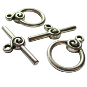 Heather's cf 24 Pieces Silver Tone Swirl Clasp Toggle Findings Jewellery Making 22X16/27X10mm