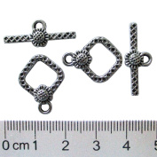 Heather's cf 32 Pieces Silver Tone Flower in Diamond Shape Clasp Toggle Findings Jewellery Making 20X15/24X9mm