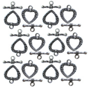 Heather's cf 39 Pieces Silver Tone Pattern Heart Clasp Toggle Findings Jewellery Making 19X16/20X8mm