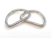 RERIVER 25pcs 3.8cm Metal D Ring Non Welded Nickel Plated