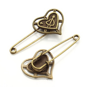 ZARABE Retro Bronze Safety Brooch Pins 50-58MM, 5PCS