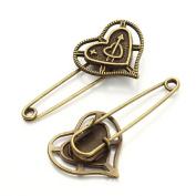 ZARABE Retro Bronze Safety Brooch Pins 50-58MM, 5PCS