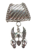 triple skull pendant slide tube set scarf jewellery components