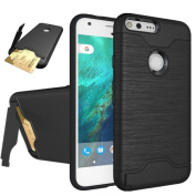 Google Pixel XL Case, SUMOON [Card Slot Holder] Dual Layer Advanced Shock Absorption Protective with Card Holder and Kickstand Wallet Case Heavy Duty Bumper for Google Pixel XL 2016