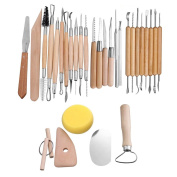 Agile-Shop 30 PCS Wood Handle Pottery Sculpting Clay Carving Modelling DIY Craft Tool Set