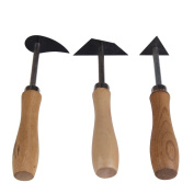 LS4G 3Pcs 18cm Tungsten Steel Clay Pottery Fettling Knife Tool with Wood Handle -All U Need