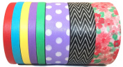 L'artisant Washi Tape Premium Quality Set of 8 Rolls with Beautiful Colours.