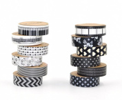 EVINIS Washi Tape , Diy 15mm × 10m Decorative Masking Tape, Deco Masking Japanese Paper Washi Tape for Crafts, Scrapbooks, Day Planners, Decorating and Design, Black and White, Set of 12 Rolls