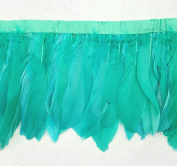 Duck Duck Goose Feather Fringe (Selling Per Yard) Tropic Green 13cm - 18cm Long