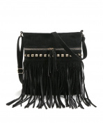 Hoxis Studded Tassel Zipper Faux Suede Leather Cross Body Bag Womens Purse