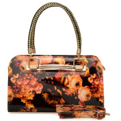 Womens Orange Floral Patent Handbag