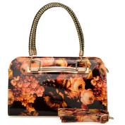 Womens Orange Floral Patent Handbag