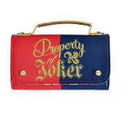 Suicide Squad Property of Joker Handbag Shoulder Bag with Wallet Red Blue Gold