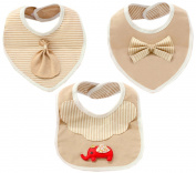 Sept.Filles Baby Bibs with Snaps Drool Towels Super Soft Packs of 3