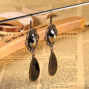 Sypure(TM) luxury vintage Tear retro fashion hollow tassel earrings long big hangingbig black water drop earring with stone for women