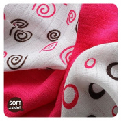 XKKO xkmbs-spbbmg - 9 muselinas Bamboo 30 x 30 cm, 13 g/Unit) Swirls and Circles Magenta
