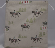 Sophie Allport Horses Fabric. Drawstring Waterproof Lined Wash Bag, Cosmetic Bag