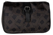 Toiletry Bag Polyester Black and Brown with Buckle Detail