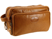 Primehide Texan Mens Leather Travel Wash Bag Toiletry Wet Pack - Tan