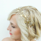 Bridalvenus Pearl Bridal Headband, Bridal Headpiece, Gold Leaf halo Wedding Headband for Women and Girls