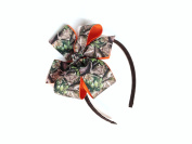 Girls Green Brown Camouflage Headband with Hunter Orange Ribbon Teen Hair Accessory Camo Hair Bow Pink Green Brown Camo Bows