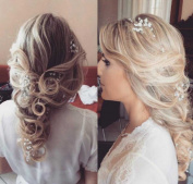 Venusvi Bridal Hair Vine -Handmade Vintage Flower Crystal Wedding Headband