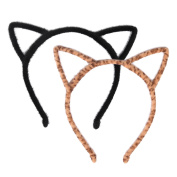 Mudder Cat Ear Headband Hair Hoop Headband for Party and Daily Decoration, Black and Leopard, 2 Pieces