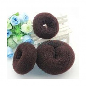 Thinkmax Ballet Dance Dancing Hair Chignon Donut Bun Ring Shaper Hair Styler Maker Brown 3pcs Set
