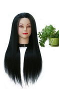 TOPBeauty Black Synthetic Hair Hairdressing Practise Training Head Doll Mannequin With Clamp