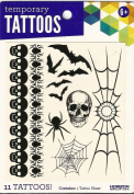 SCULL SPIDER BATS BLACK WIDOWS TEMPORARY TATTOOS 11 TATTOOS