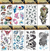 8pcs different long lasting and realistic temp tattoo stickers designs in 1 package, it including skulls,dolphins,cobra,angels,dragon,spiders tattoo stickers
