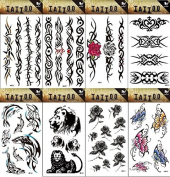 8pcs different long lasting and realistic temp tattoo stickers designs in 1 package, it including dophins,butterflies and totem, lion,flowers tattoo stickers