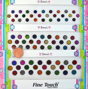 Velvet Bindi Tattoo Stickers 3 Cards of different sized Polka Dot Multi Colours Adhesive Body Jewellery