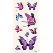 HuntGold 1 Sheet 3D Flower Flying Butterfly Waterproof Tattoo Stickers Temporary Einmal Decal Body Art