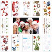 12 Sheet Christmas Temporary Tattoos Sticker For Pary Kids Fake Glitter Tattoo Supplies