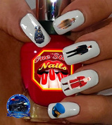 Christmas Polar Express Nail Art Decals. Clear Waterslide Nail Decals (Tattoo) Set of 44 by One Stop Nails MCS-001-44