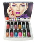 12 Metallic Colour Nail Polish Kit (Nail Lacquer) + Remover Pad