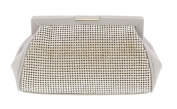 Scheilan Beige Fabric Double Sided Crystal Panelled Clutch/Shoulder Bag