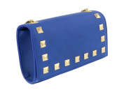 Scheilan Electric Blue Leather Studded Mini Crossbody/Shoulder Bag