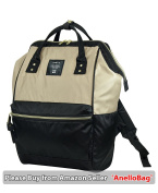 Japan Anello HD NYLON LARGE BLACK BEIGE Waterproof Backpack Unisex Rucksack Bag Campus