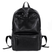 WOMJIA PU Leather Laptop Computer Backpack School College Male Rucksack Travel Bag