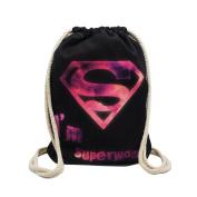 Artone Purple Super Woman Canvas Drawstring Bag Travel Daypack Sports Portable Backpack Black