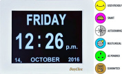 Amazone Digital Calendar Day Clock with Large Clear Time Day and Date display, Wall hanging or Desk/Shelf clock ideal for Impaired Vision & Memory Loss.