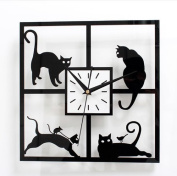 URAQT Cats in the Window - Cat-themed Hanging Wall Clock - Great Home D¨¦cor Gift - Measures 30cm Square home Decoration Wall Clock For Bedroom, Living Room
