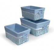 3 Basket Set, Each Basket Includes A Polyester/Cotton Liner, Dimensions 19Lx13Wx9H, Blue