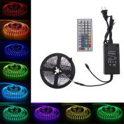 Tuscom 5M 300leds 5050 SMD RGB LED Light Strip Flexible +44 key IR+12V 5A Power Supply