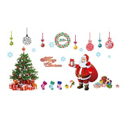 Merry Christmas Tree Santa Claus Removable Mural Wall Stickers Art Cupboard Decal for Christmas Shop Room Decor DIY Atmosphere