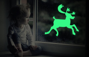 Marsway 3 Pcs Lovely Elks Luminous Sticker Glow in the Dark Fluorescent Wall Window Decal for Christmas Xmas Party Home Decor